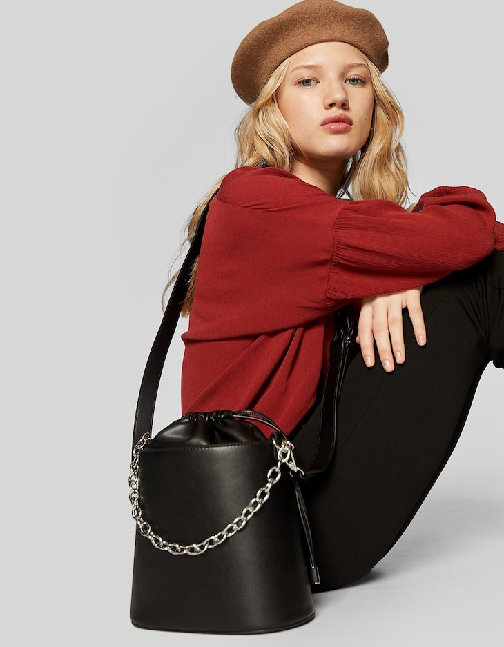 Bucket bag with chain strap