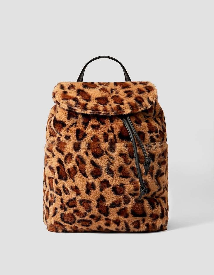 Faux fur leopard print backpack