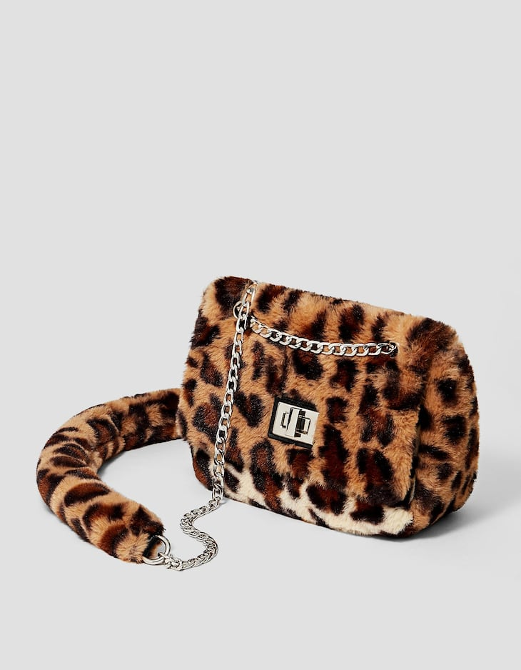 Faux fur leopard print crossbody bag