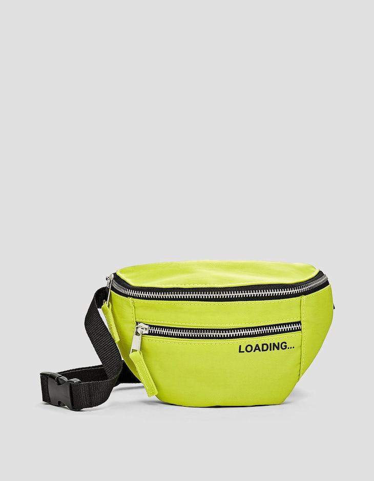 Nylon belt bag with slogan