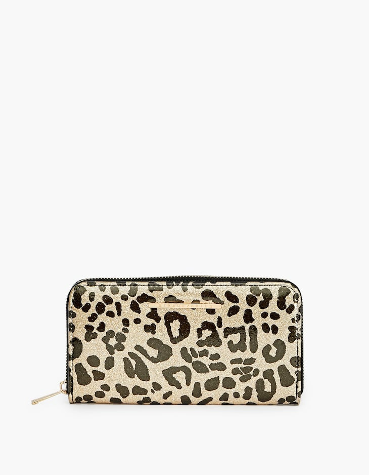 Leopard print zipped purse