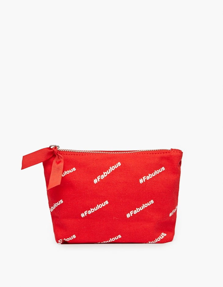 Canvas toiletry bag with slogan prints
