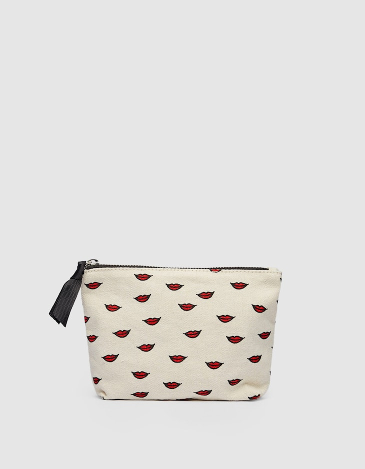 Lip print toiletry bag