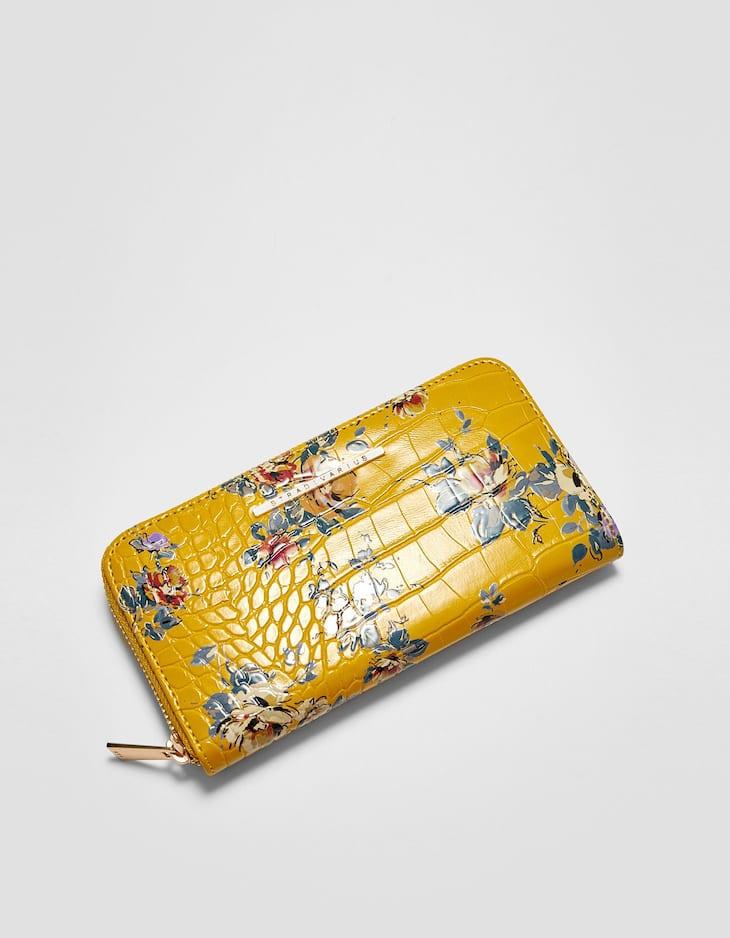 Portefeuille fleurs zippé