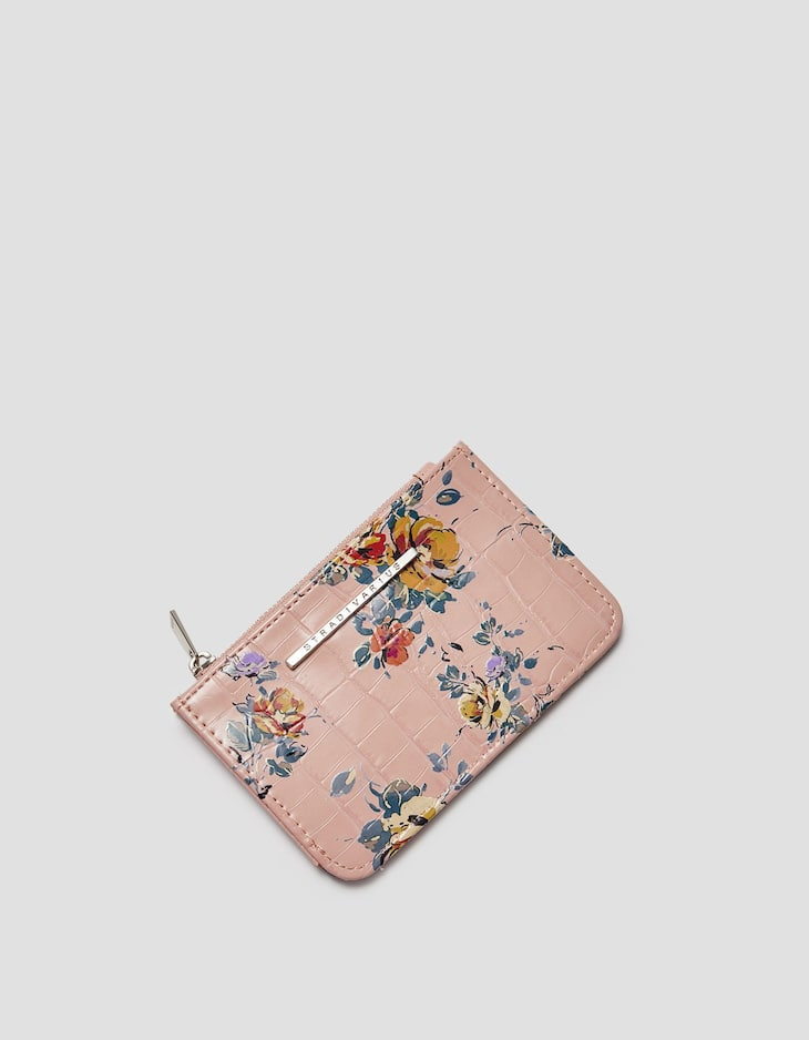 Floral mock croc card holder