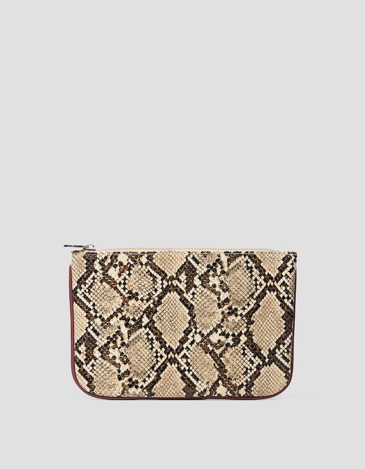 Snakeskin-effect clutch