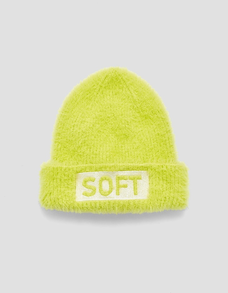 Fluffy neon beanie with slogan