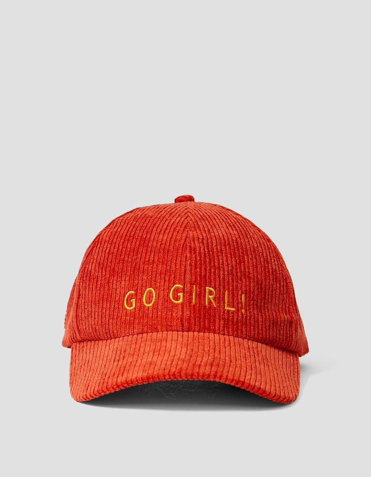 Corduroy cap with slogan