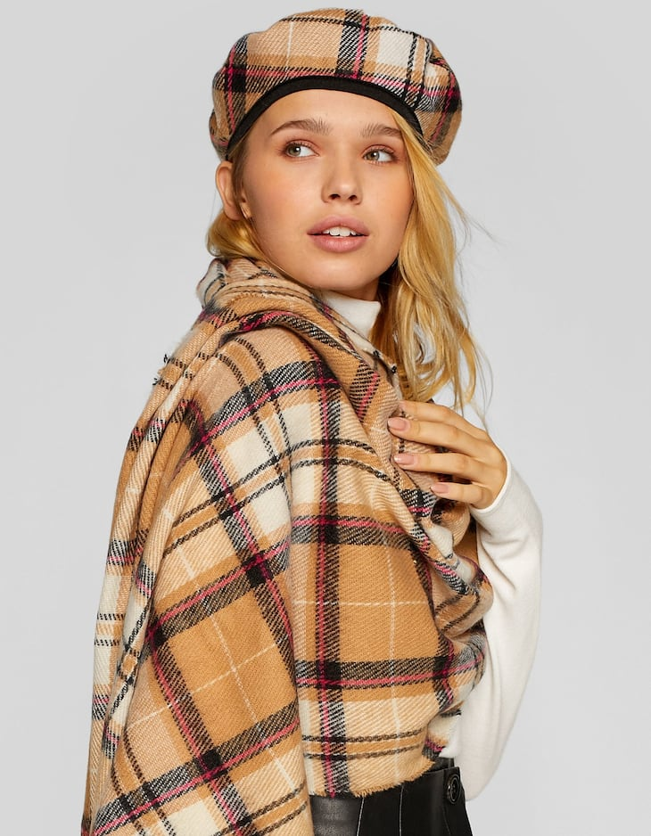 Camel checked beret