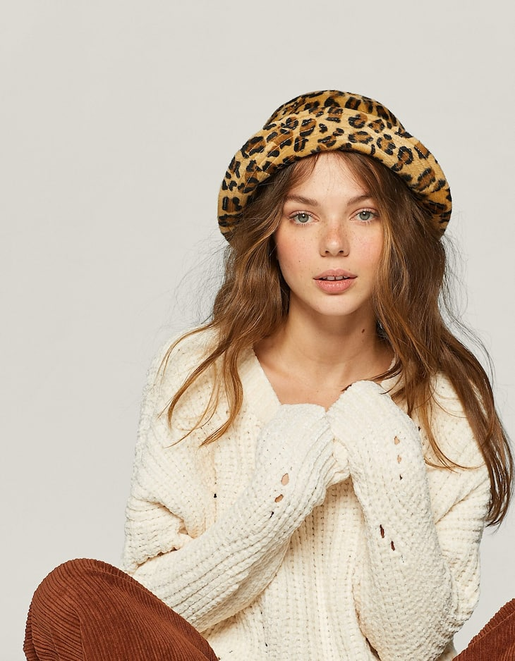Leopard print fisherman's hat