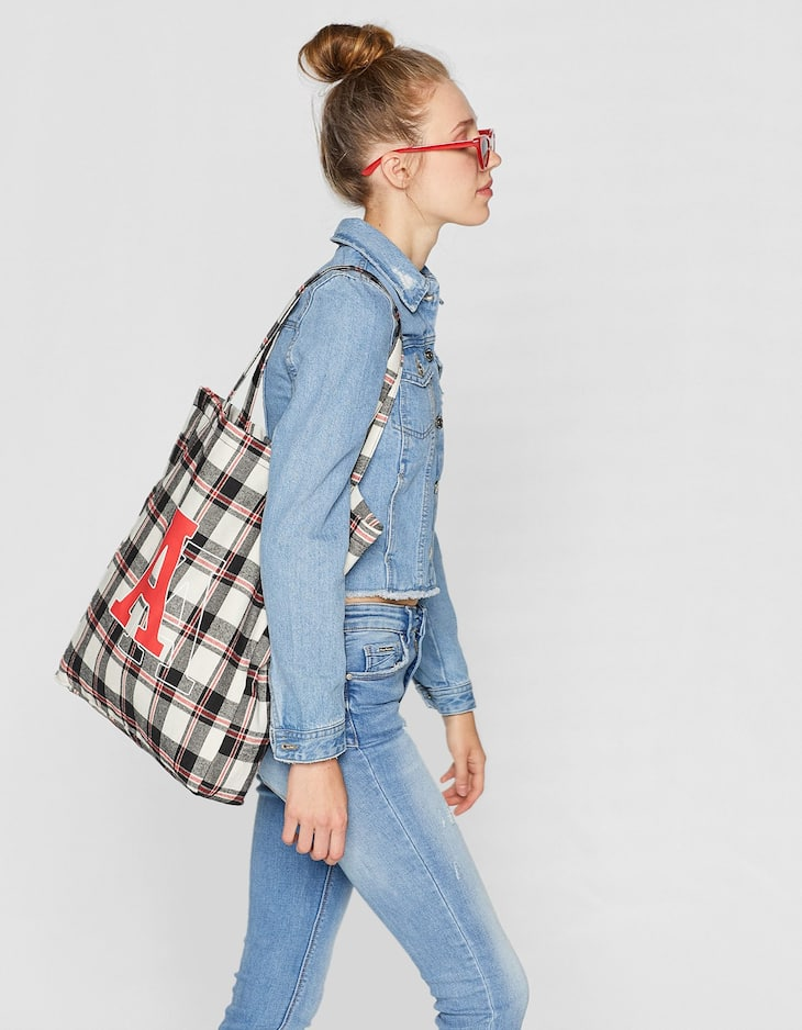 Checked fabric tote bag
