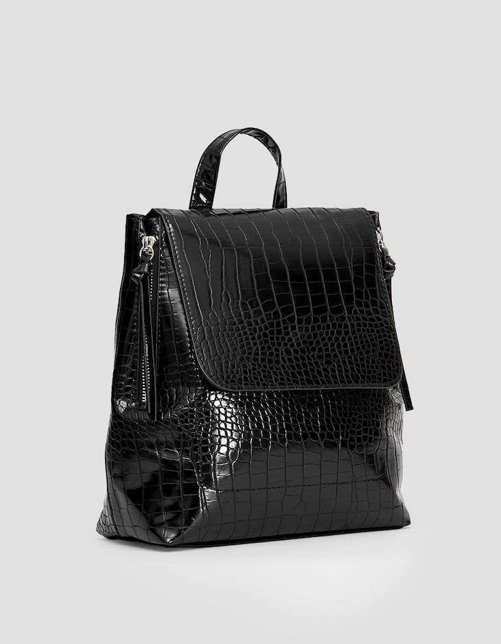 Mock croc backpack with zips