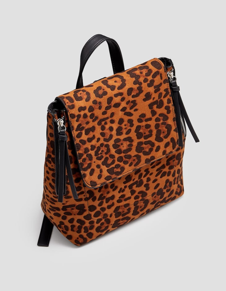 Leopard print backpack with zips
