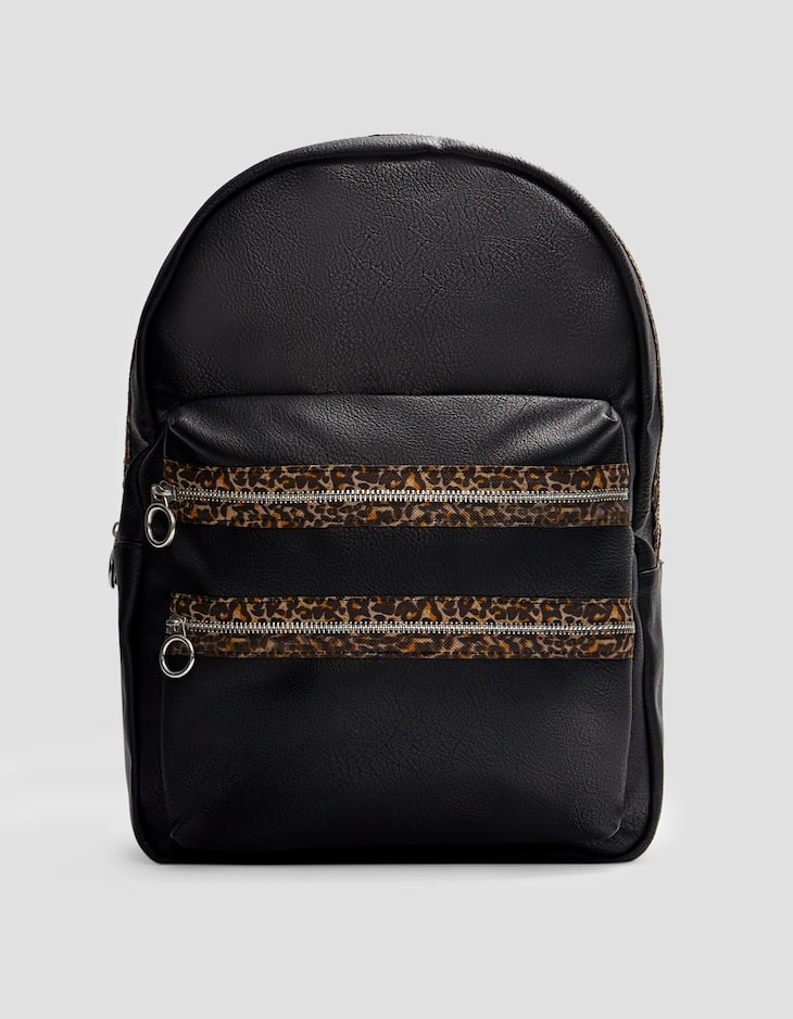 Leopard print backpack with zip