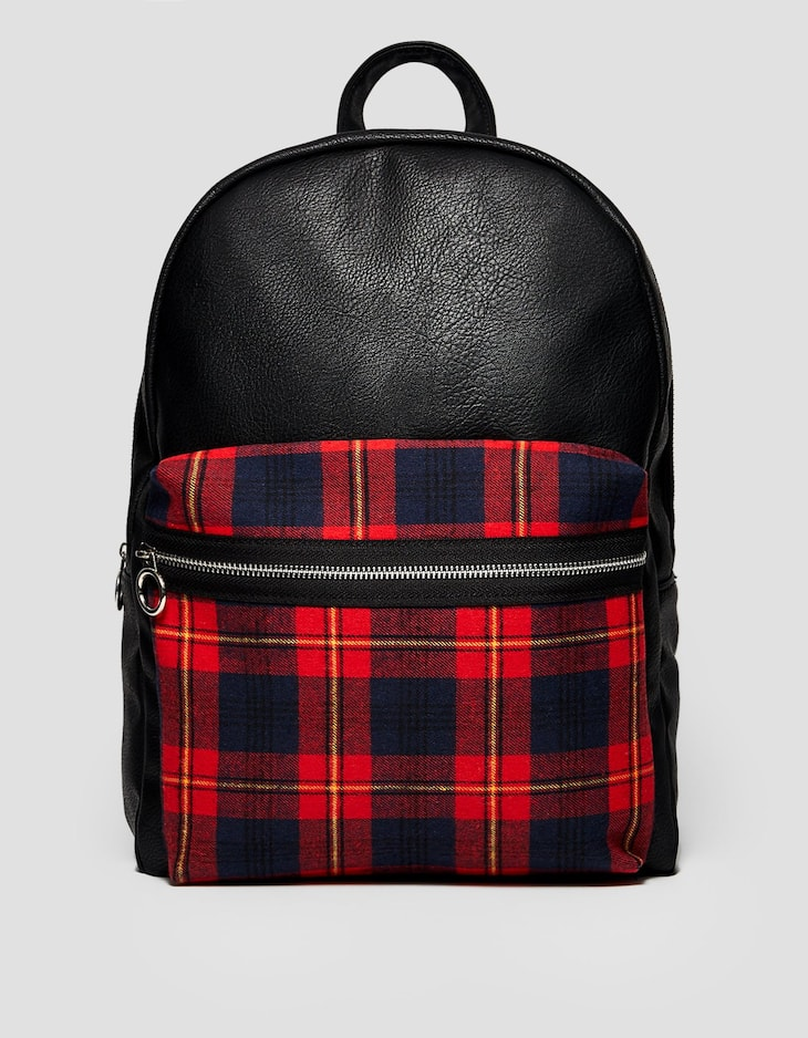 Backpack with tartan pocket