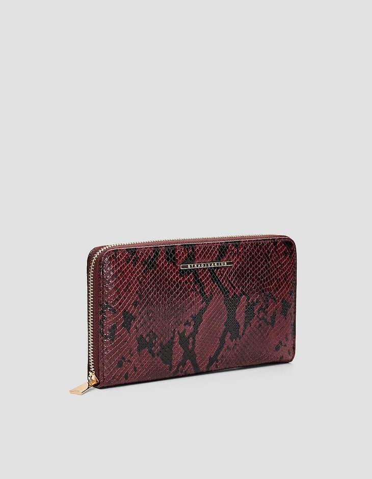 Faux snakeskin travel purse