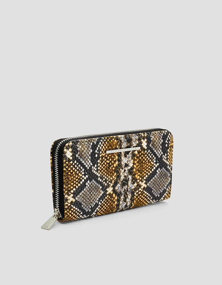Snakeskin print purse with zip