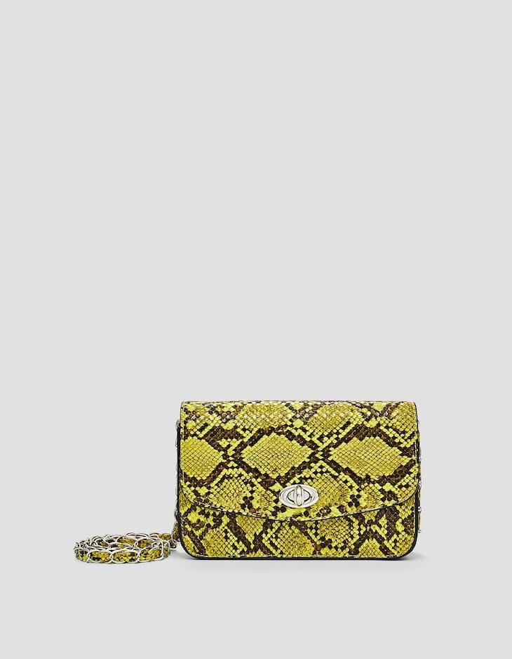 Neon snakeskin crossbody bag