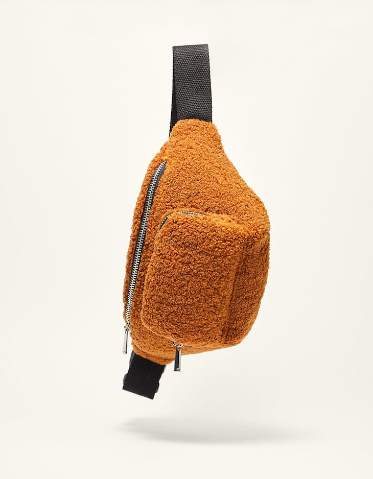 Crimped faux fur belt bag