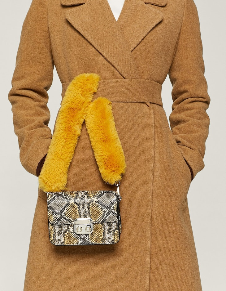 Faux fur snakeskin mini crossbody bag