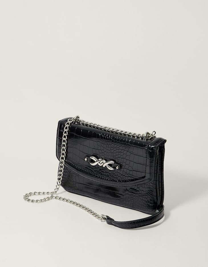 Mock croc chain-trimmed crossbody bag