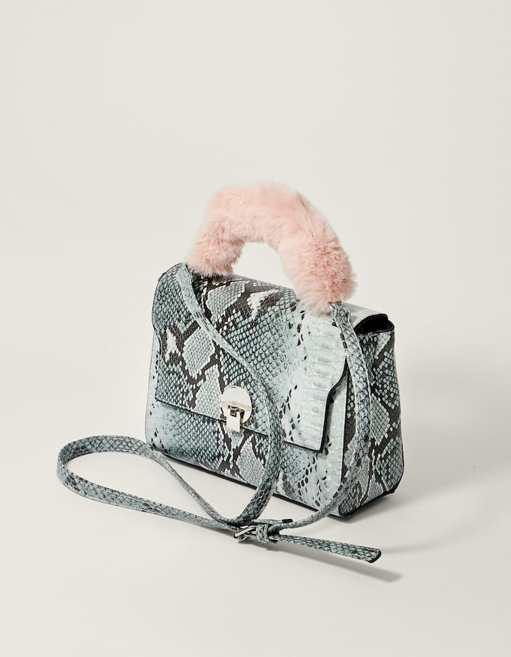 Faux snakeskin crossbody satchel bag