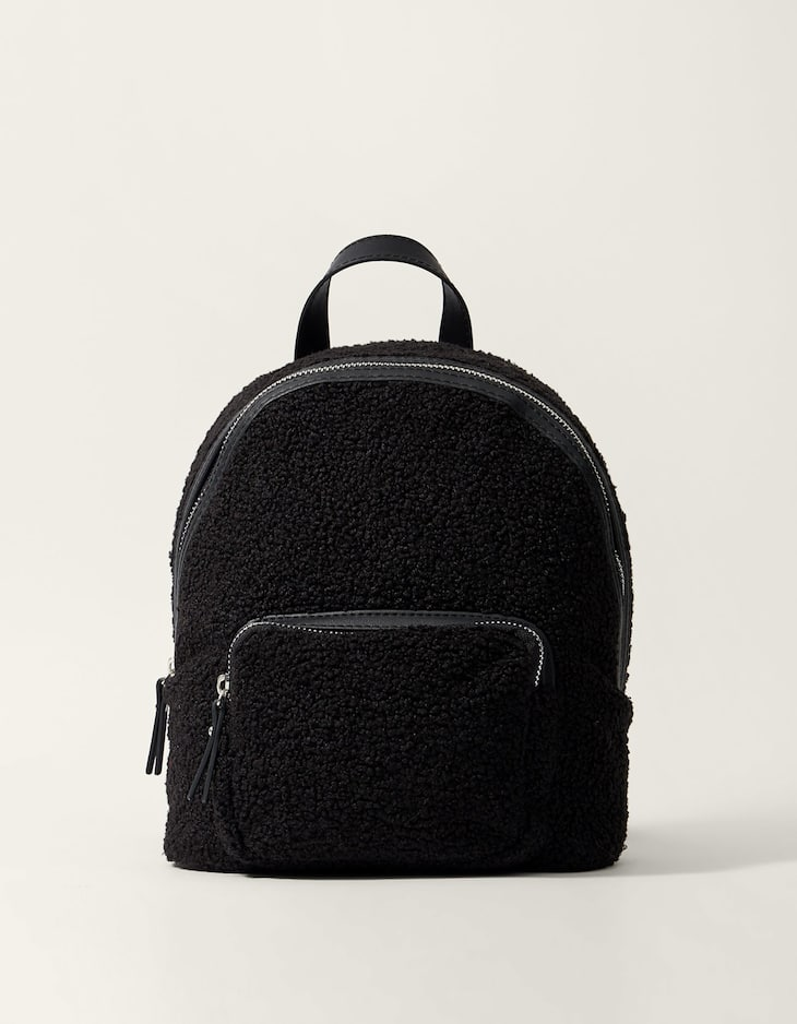 Curly faux fur backpack