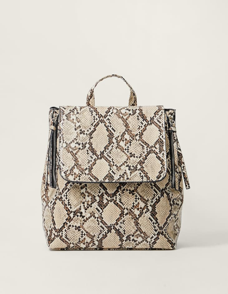 Snakeskin backpack with zips