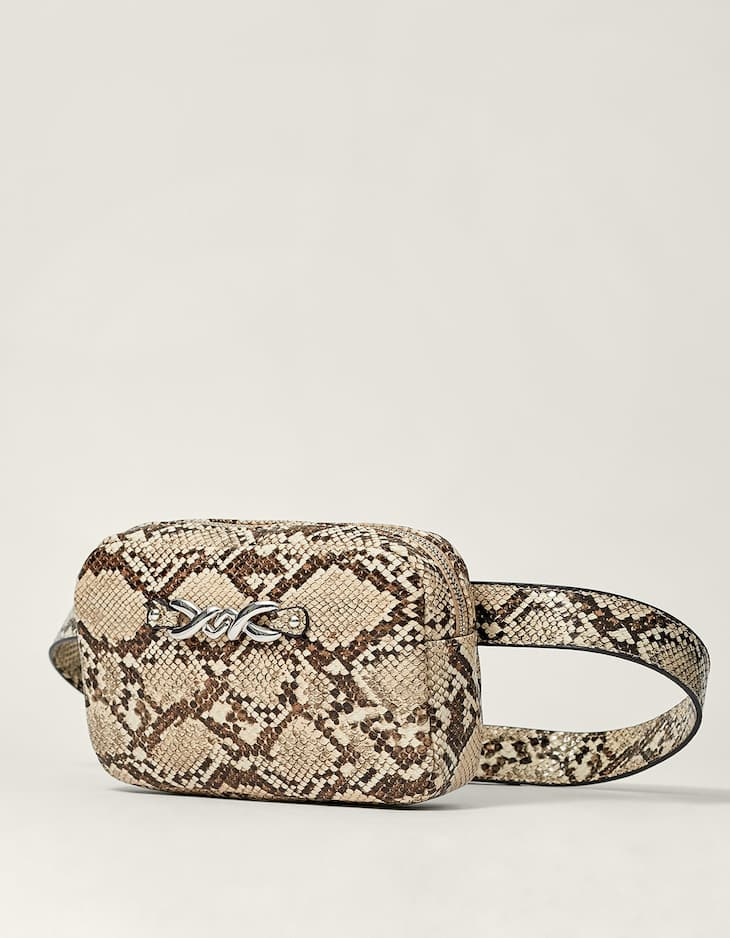 Faux snakeskin belt bag with metal detail