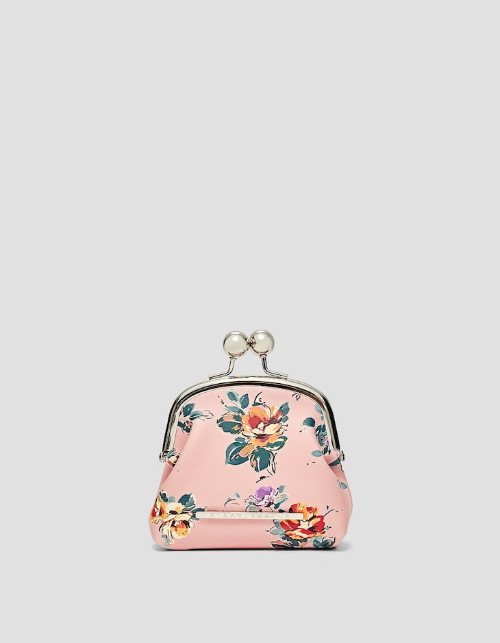 Floral kiss lock purse