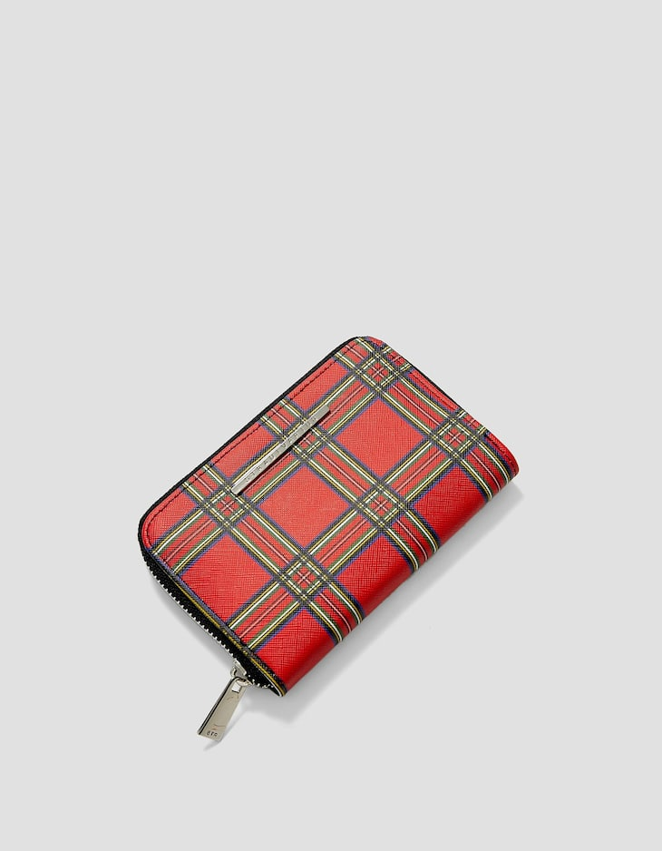 Tartan check purse