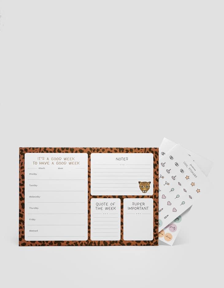 Leopard print week planner