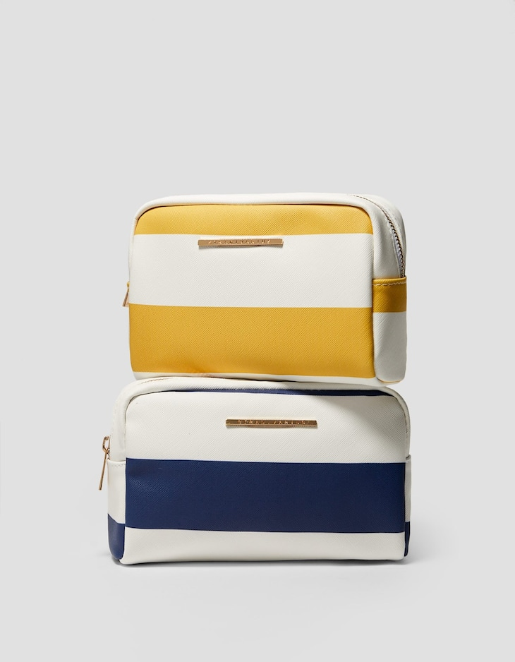 Striped toiletry bag
