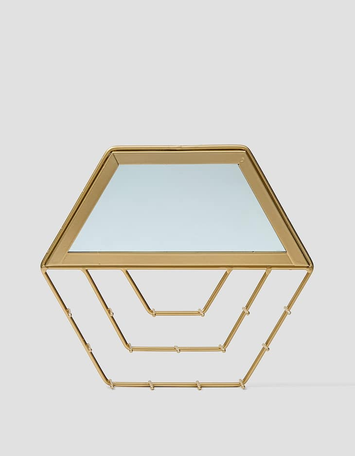 Hexagonal mirrored jewellery box