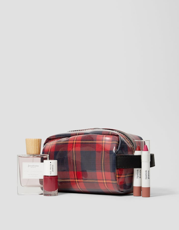 Faux leather tartan check toiletry bag