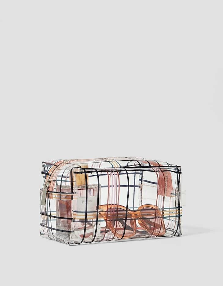 Transparent tartan check toiletry bag