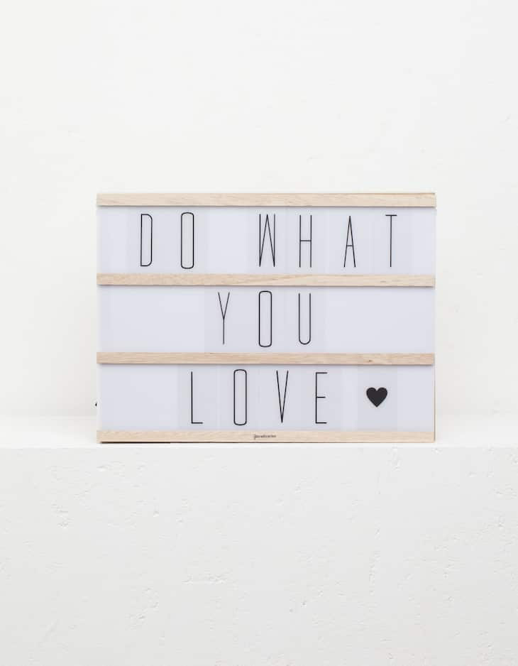 Wooden light box with letters
