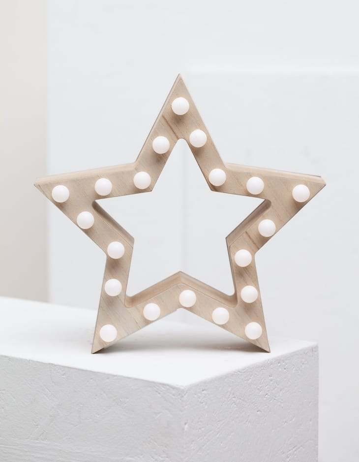 Wooden star with lights