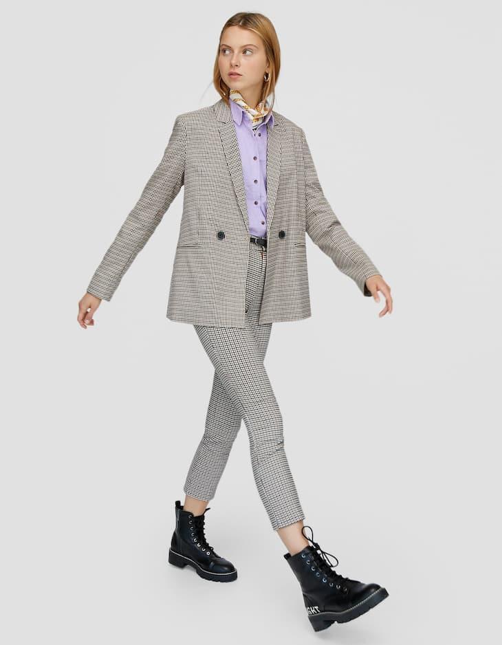 Παντελόνι αμπιγιέ καρό με ζώνη