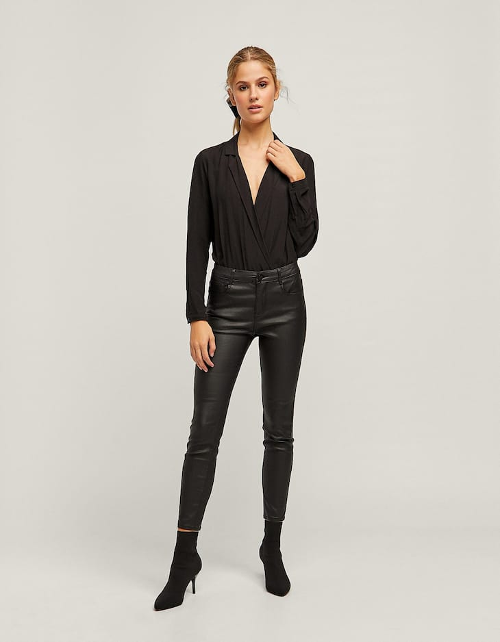 Super high waisted coated trousers