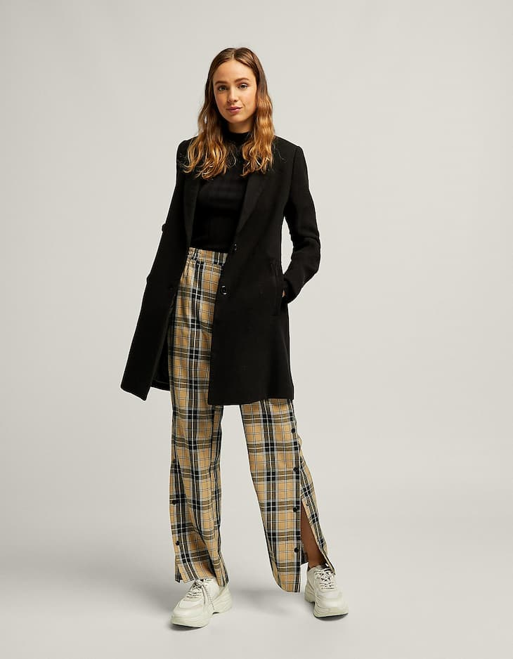 Checked snap button trousers