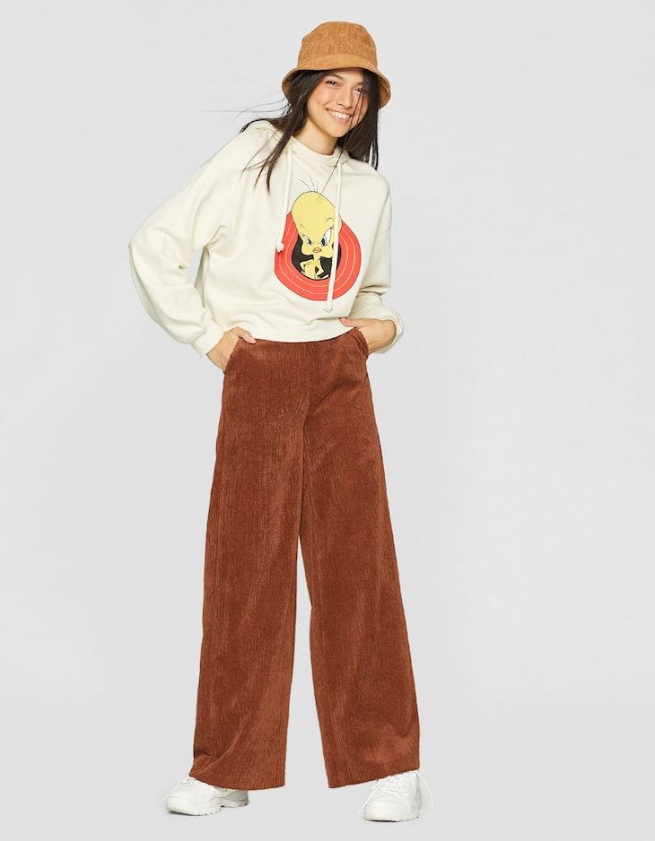 Pantalon velours côtelé ample