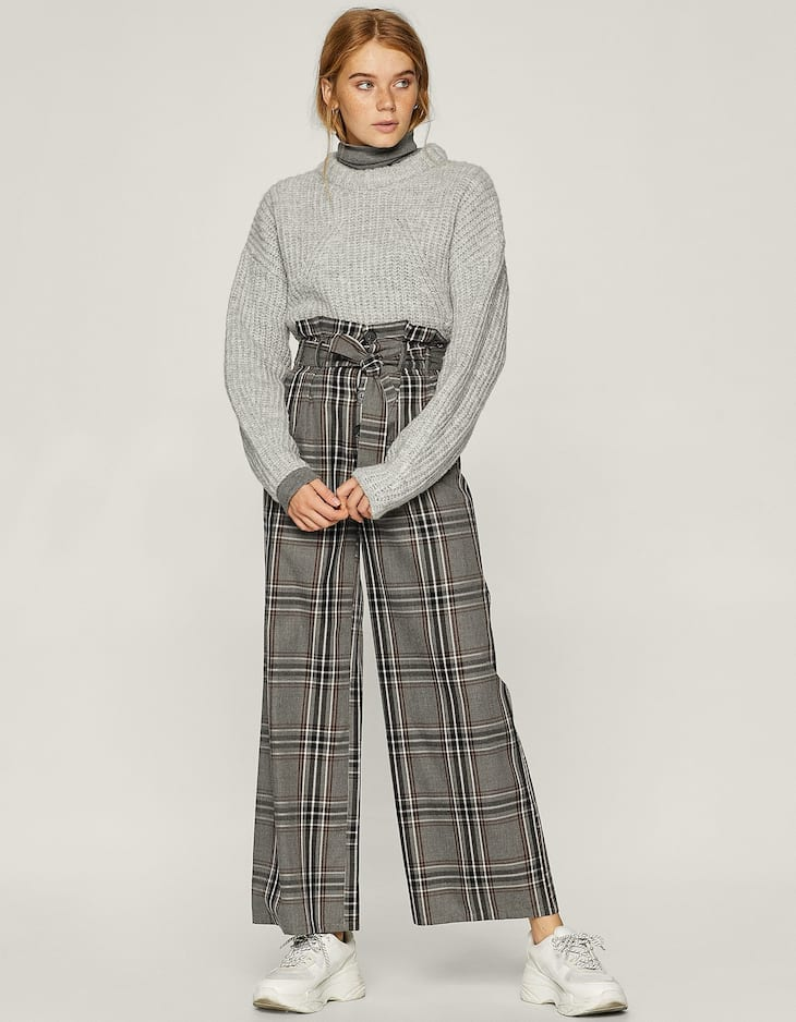 Check wide-leg trousers