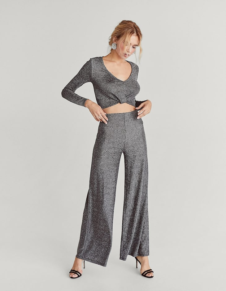 Shimmer wide-leg trousers