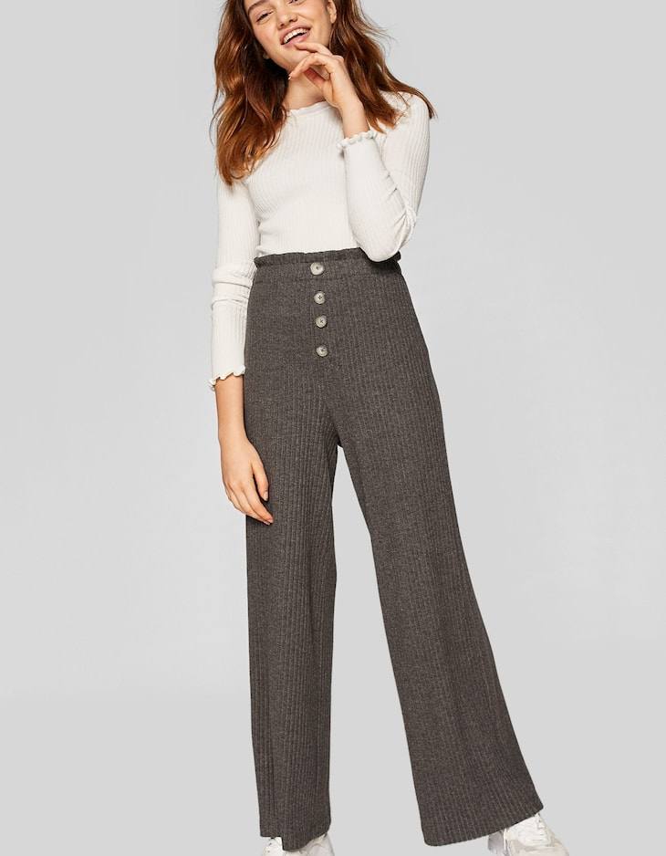 Cropped ribbed trousers