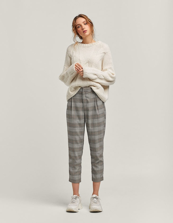 Carrot fit trousers with zip detail