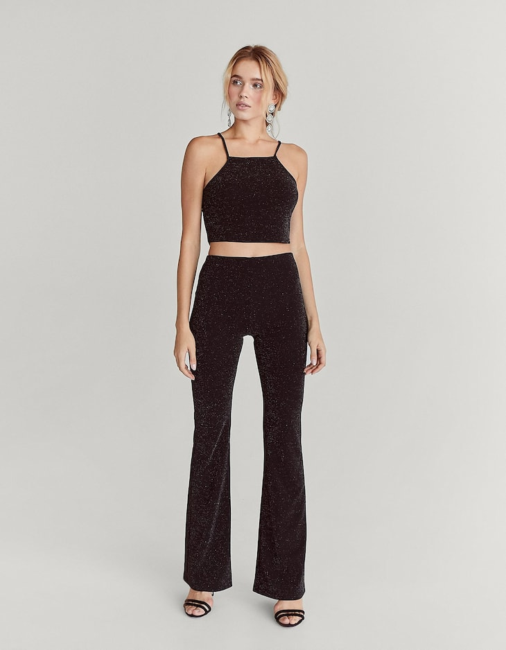 Shimmer flared trousers