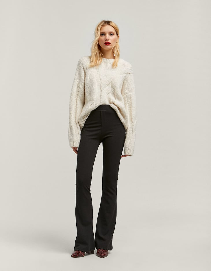 Plain knit flared trousers
