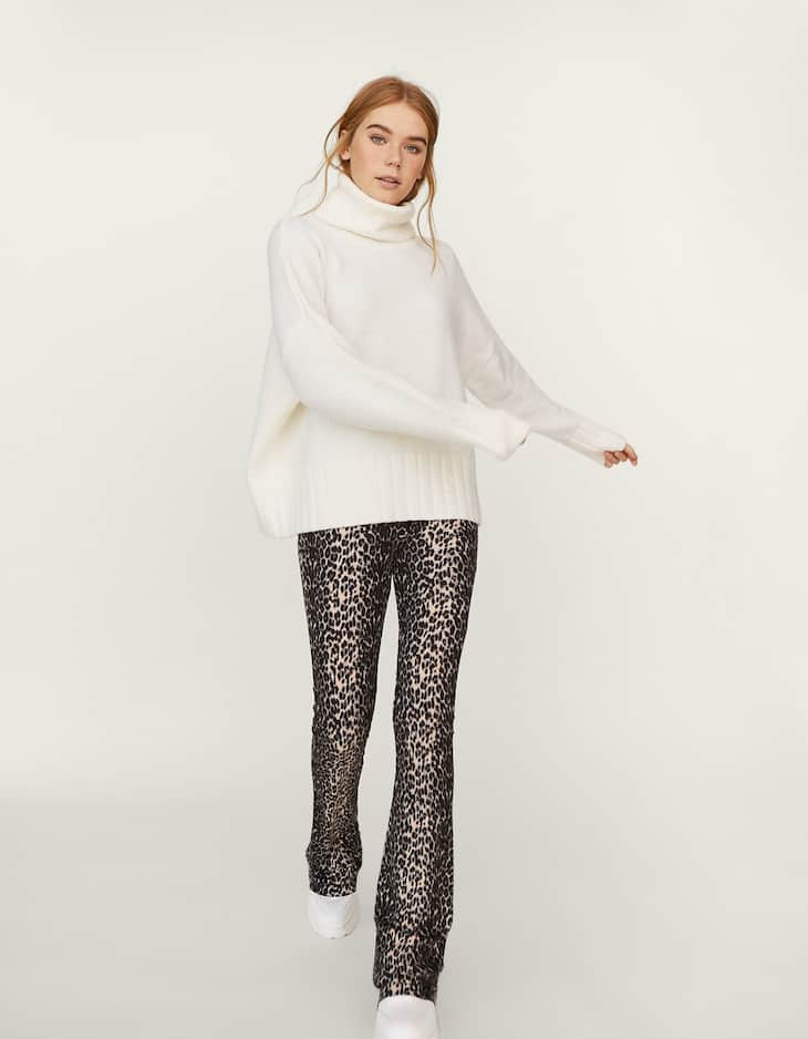 Animal print knit flared trousers