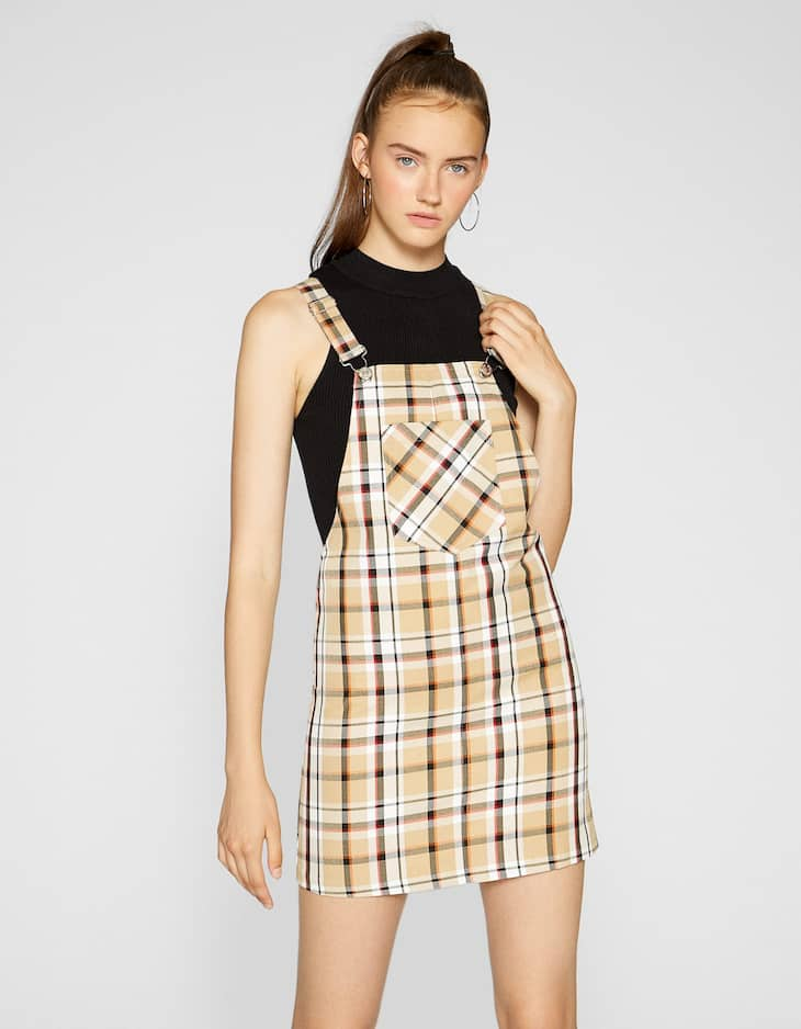 Checked pinafore dress